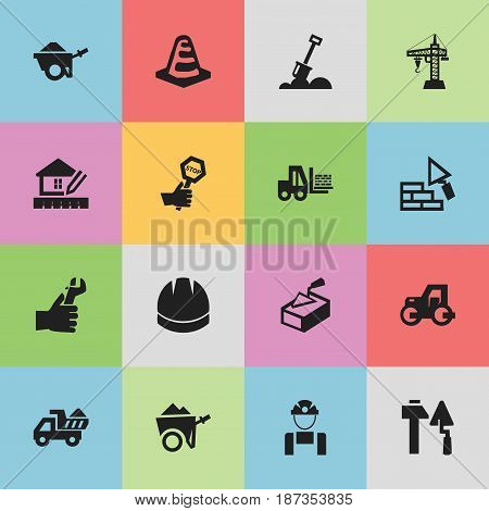 Set Of 16 Editable Structure Icons. Includes Symbols Such As Notice Object , Hands , Oar. Can Be Used For Web, Mobile, UI And Infographic Design.