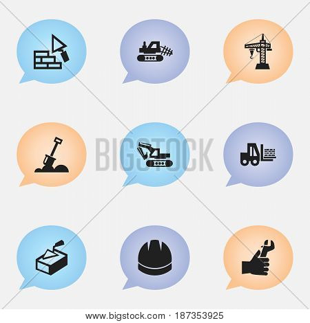 Set Of 9 Editable Structure Icons. Includes Symbols Such As Hardhat , Hands , Oar. Can Be Used For Web, Mobile, UI And Infographic Design.