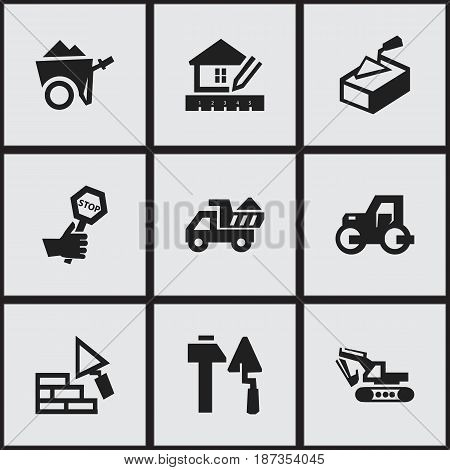 Set Of 9 Editable Construction Icons. Includes Symbols Such As Construction Tools, Camion, Excavation Machine And More. Can Be Used For Web, Mobile, UI And Infographic Design.