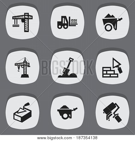 Set Of 9 Editable Structure Icons. Includes Symbols Such As Facing, Truck, Lifting Equipment And More. Can Be Used For Web, Mobile, UI And Infographic Design.