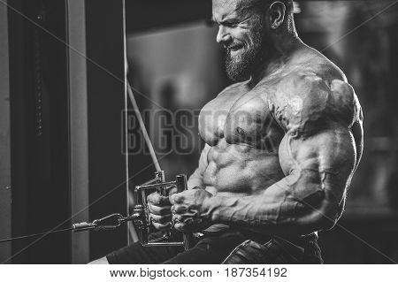 Handsome Caucasian Athlete Muscular Fitness Male Model Execute Exercise Gym