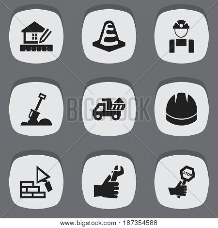Set Of 9 Editable Structure Icons. Includes Symbols Such As Hands , Hardhat , Endurance. Can Be Used For Web, Mobile, UI And Infographic Design.