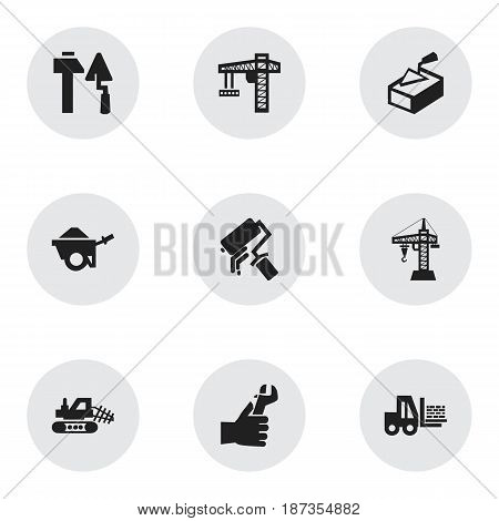 Set Of 9 Editable Construction Icons. Includes Symbols Such As Construction Tools, Trolley, Elevator And More. Can Be Used For Web, Mobile, UI And Infographic Design.