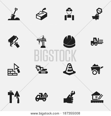 Set Of 16 Editable Construction Icons. Includes Symbols Such As Notice Object , Handcart , Employee. Can Be Used For Web, Mobile, UI And Infographic Design.