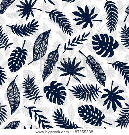 Tropical Leaves seamless pattern, modern hand drawn nature foliage. Summer Hawaii jungle exotic plants, textile print, clothes, wallpaper, wrapping paper. Trendy surface design. Vector illustration