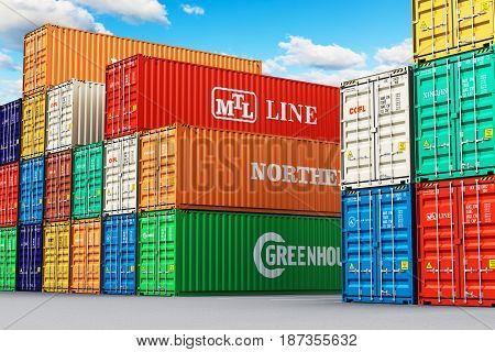 3D render illustration of the group of stacked 40 ft color metal heavy containers in sea port terminal