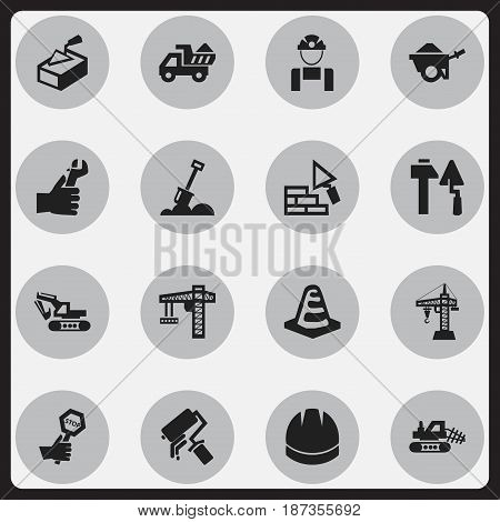 Set Of 16 Editable Structure Icons. Includes Symbols Such As Mule, Hardhat, Employee And More. Can Be Used For Web, Mobile, UI And Infographic Design.