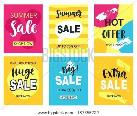 Summer sale mobile banners template set for online shopping. Vector Illustration