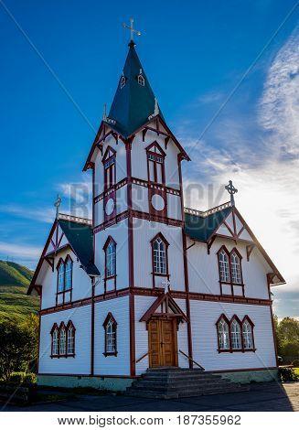 Beautiful white Church in Husavik Iceland, Europe