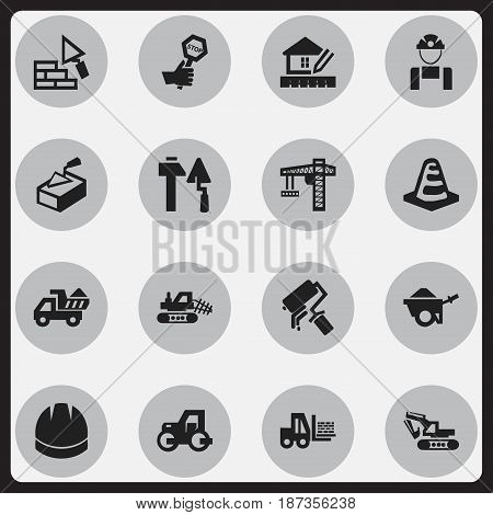 Set Of 16 Editable Structure Icons. Includes Symbols Such As Mule, Home Scheduling, Facing And More. Can Be Used For Web, Mobile, UI And Infographic Design.