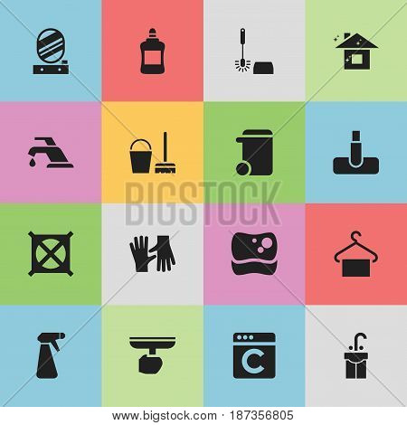 Set Of 16 Editable Hygiene Icons. Includes Symbols Such As Laundress, Cleaner, Pure Home And More. Can Be Used For Web, Mobile, UI And Infographic Design.