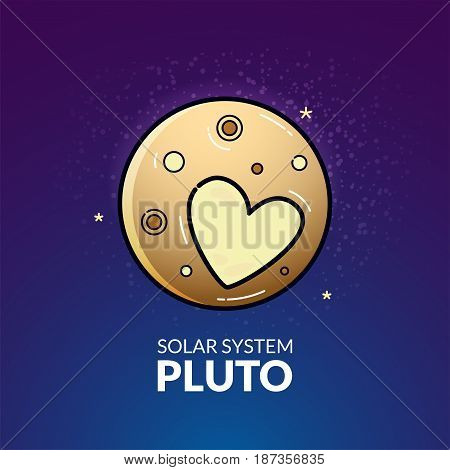 Dwarf planet Pluto, Solar System object, vector illustration in outline style
