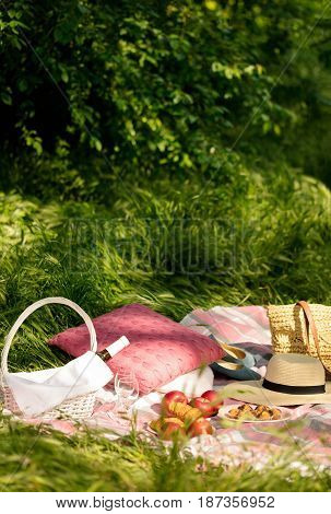 Summer picnic in the forest on the grass. Wine fruit and croissants. Selective focus.