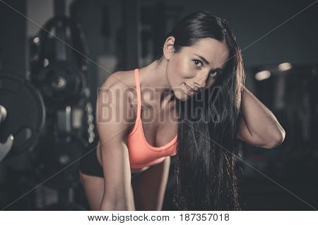 Sexy Portrait Model And Tanned Body Looking Away In Gym ..