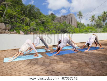 fitness, sport, yoga and healthy lifestyle concept - group of people making downward facing dog pose over tropical beach background