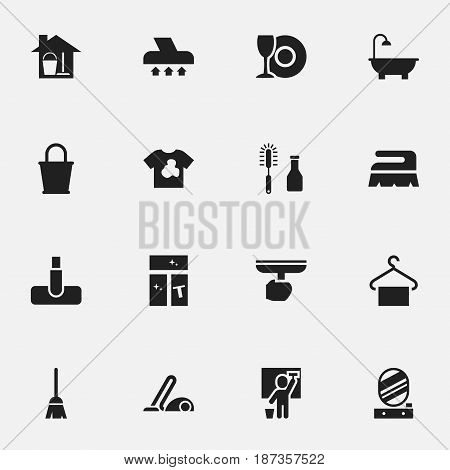 Set Of 16 Editable Dry-Cleaning Icons. Includes Symbols Such As Bathroom, Wall Mirror, Sweep And More. Can Be Used For Web, Mobile, UI And Infographic Design.