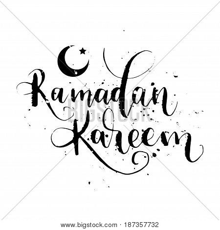 Inscription Ramadan Kareem lettering. Vector illustration. Calligraphy for the print typography