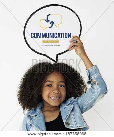 Girl holding network graphic overlay banner