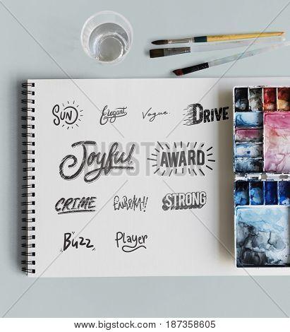 Text Word Design Paint Brush