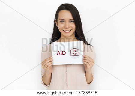 Women holding a card with healthcare concept