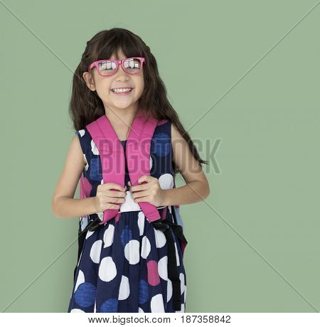 Little Girl Backpack Glasses Smiling