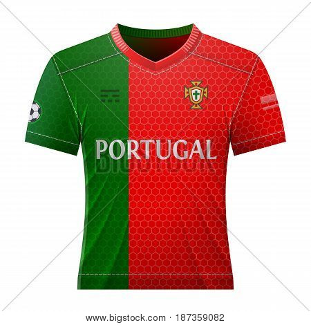 Soccer shirt in colors of portuguese flag. National jersey for football team of Portugal. Best vector illustration for soccer, sport game, football, championship, national team, gameplay, etc
