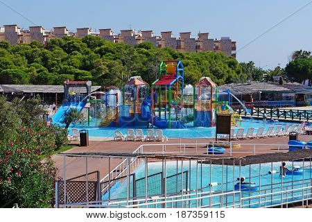 view from above on outdoor aquapark. Spain