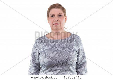 Portrait of senior blond woman on white background