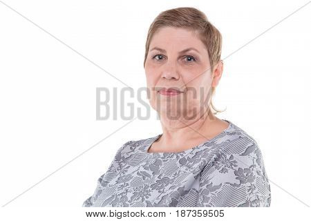 Portrait of cute senior blond woman on white background