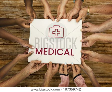 Diverse hands hold healthcare concept card