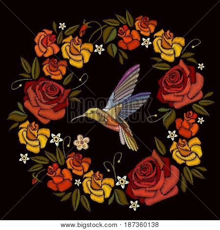 Embroidery beautiful flowers roses and hummingbird. Decorative floral embroidery elegant flowers vector. Fashionable template for design of clothes