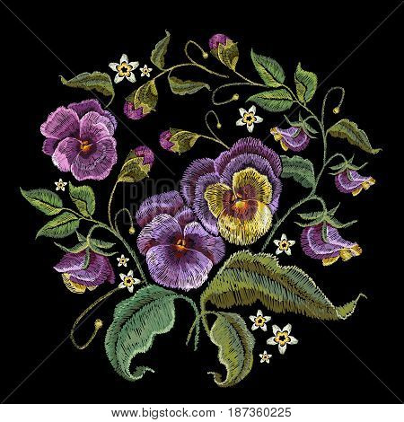 Violets flower embroidery. Classical embroidery beautiful flowers of violet on black background. Fashionable design of clothes t-shirt design