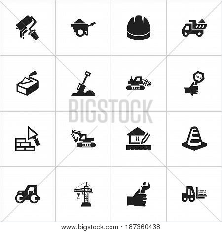 Set Of 16 Editable Structure Icons. Includes Symbols Such As Facing, Hands , Mule. Can Be Used For Web, Mobile, UI And Infographic Design.