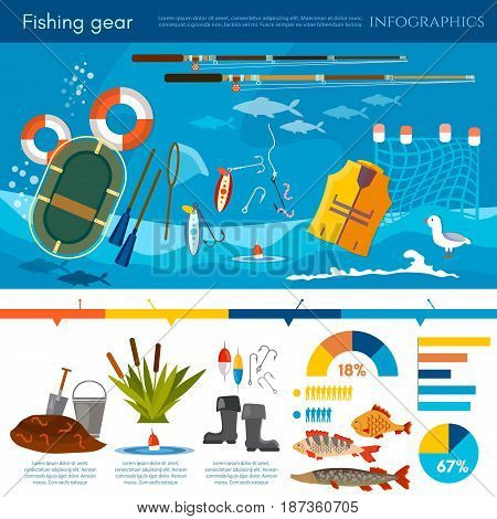 Professional fishing infographic fishing rod hooks bait fish worms fisher equipment vector flat illustration
