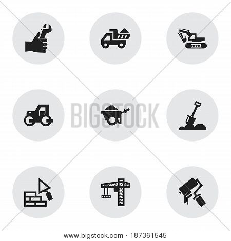 Set Of 9 Editable Building Icons. Includes Symbols Such As Scrub, Hands , Camion. Can Be Used For Web, Mobile, UI And Infographic Design.