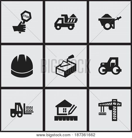 Set Of 9 Editable Structure Icons. Includes Symbols Such As Caterpillar, Truck, Lifting Equipment And More. Can Be Used For Web, Mobile, UI And Infographic Design.