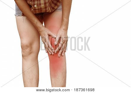 Body pain. close-up female body with pain in knees. Woman hands touching and massaging painful knee.