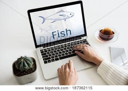 Illustration of nautical aquatic animal fish