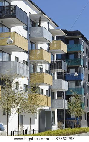 Apartment building facade with windows and balconys at Stockholm