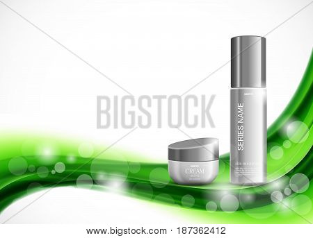 Skin moisturizer cosmetic design template with gray realistic packages on green elegant wavy soft dynamic lines background. Vector illustration
