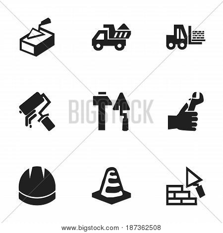 Set Of 9 Editable Construction Icons. Includes Symbols Such As Truck, Scrub, Camion And More. Can Be Used For Web, Mobile, UI And Infographic Design.