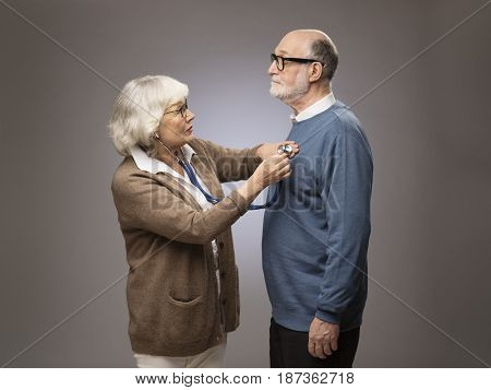 Senior Woman Checking Heart Beat