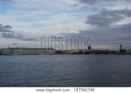 View of Palace bridge, Admiralty, Winter Palace, Rostral column Saint Petersburg