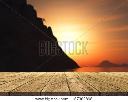 3D render of a wooden table looking out to a rock climber climbing a large mountain