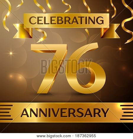 Seventy six Years Anniversary Celebration Design. Confetti and gold ribbon on golden background. Colorful Vector template elements for your birthday party. Anniversary ribbon