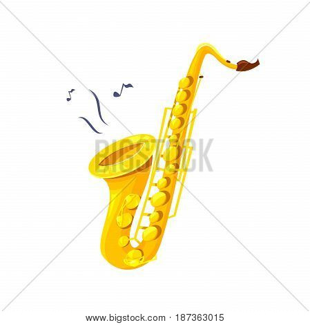 Yellow saxophone music instrument colorful vector illustration