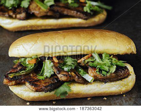 close up of rustic vietnamese bahn mi pork sandwich