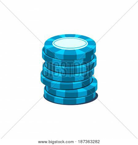 Pile of playing chips of blue color, vector illustration