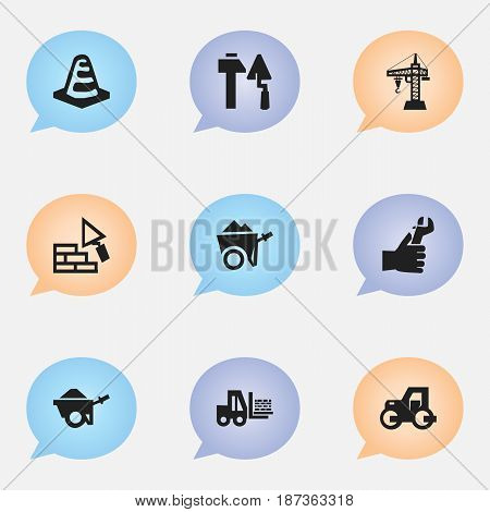 Set Of 9 Editable Construction Icons. Includes Symbols Such As Notice Object, Caterpillar, Construction Tools And More. Can Be Used For Web, Mobile, UI And Infographic Design.