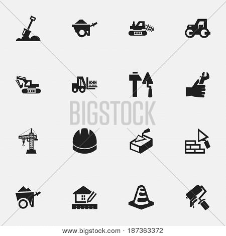 Set Of 16 Editable Structure Icons. Includes Symbols Such As Excavation Machine, Oar, Notice Object And More. Can Be Used For Web, Mobile, UI And Infographic Design.